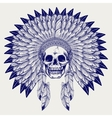 Ball pen sketch skull in headdress vector image vector image