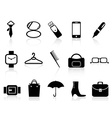black accessories icons set vector image vector image