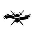 black logotype of knights helmet and swords vector image vector image