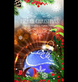 Blue Christmas bauble with sparkles and fir vector image vector image