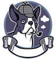 boston terrier dog wear a detective hat vector image vector image