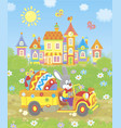 bunny in a truck with a colored easter egg vector image vector image