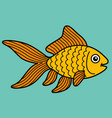 cartoon cute gold fish in blue background vector image vector image