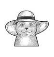 cat in wide brimmed hat sketch vector image vector image