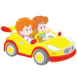 children playing in a toy sports car vector image vector image