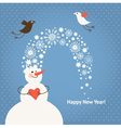 Christmas card funny snowman and birds vector image vector image