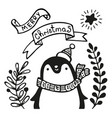 christmas greeting card with penguin vector image vector image