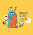 crazy music party with band cartoon halloween vector image vector image