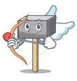 cupid character of metallic meat tenderizer hammer vector image vector image