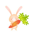 cute rabbit holding big carrot isolated on white vector image vector image