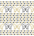 cute seamless pattern with butterflies and hearts vector image vector image