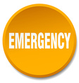 emergency orange round flat isolated push button vector image vector image