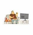fat man watching tv - cartoon people character vector image