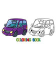 funny small car with eyes coloring book vector image vector image