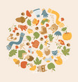 golden autumn round composition vector image vector image