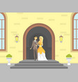 happy just married couple romantic bride and vector image vector image