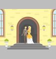 happy just married couple romantic bride vector image vector image
