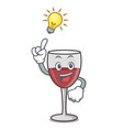 have an idea wine mascot cartoon style vector image vector image