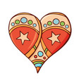 heart with a star shapes vector image vector image