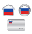Home icon on the Russia flag vector image vector image