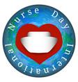 international nurses day earth hearts nurse cap vector image