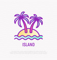 Island thin line icon palms sand and sea