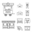 isolated object of market and exterior logo vector image