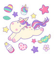 kawaii cute unicorn sflies and different magic vector image vector image