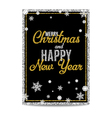Merry Christmas greeting card golden text and vector image vector image