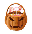 orange pumpkin basket to collect candy on vector image