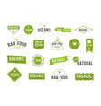 organic labels set collection various logo vector image vector image