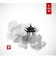 pagoda temple and forest trees on white background vector image vector image