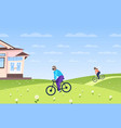 people in masks riding bicycles coronavirus vector image