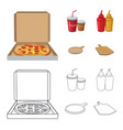 pizza and food symbol set vector image
