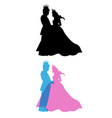 prince and princess with crown king and queen vector image vector image