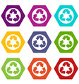 recycle sign icon set color hexahedron vector image vector image