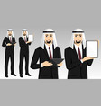 set of arab businessman with tablet computer vector image