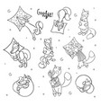 set of cute cartoon sleeping foxes with pillow vector image vector image