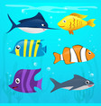 set of sea animals cartoon vector image