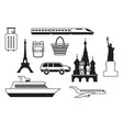 set of travel icons mobile app printing web vector image