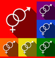 sex symbol sign set of icons with flat vector image