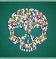 skull is composed of pills and tablets vector image vector image