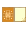 Spiral orange cover notebook with round ornate vector image vector image