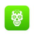 sugar skull flowers on the skull icon digital vector image