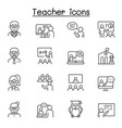 teacher icons set in thin line style vector image