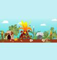 tribal cave life near cartoon volcano vector image
