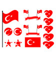turkey flag set collection of symbols flag vector image