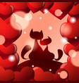 valentines day greeting card background with two vector image