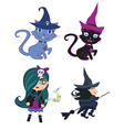 witches and cats - set vector image