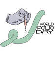 world polio day hand in a medical glove with a vector image vector image